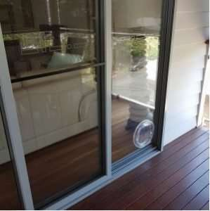 Pet door glass door